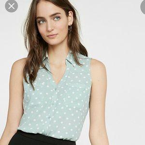 NWOT Express Sleeveless Portofino Polka Dot Shirt